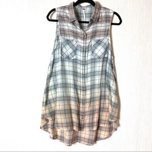 Free People Ombré Plaid Oversized Cotton Tunic S
